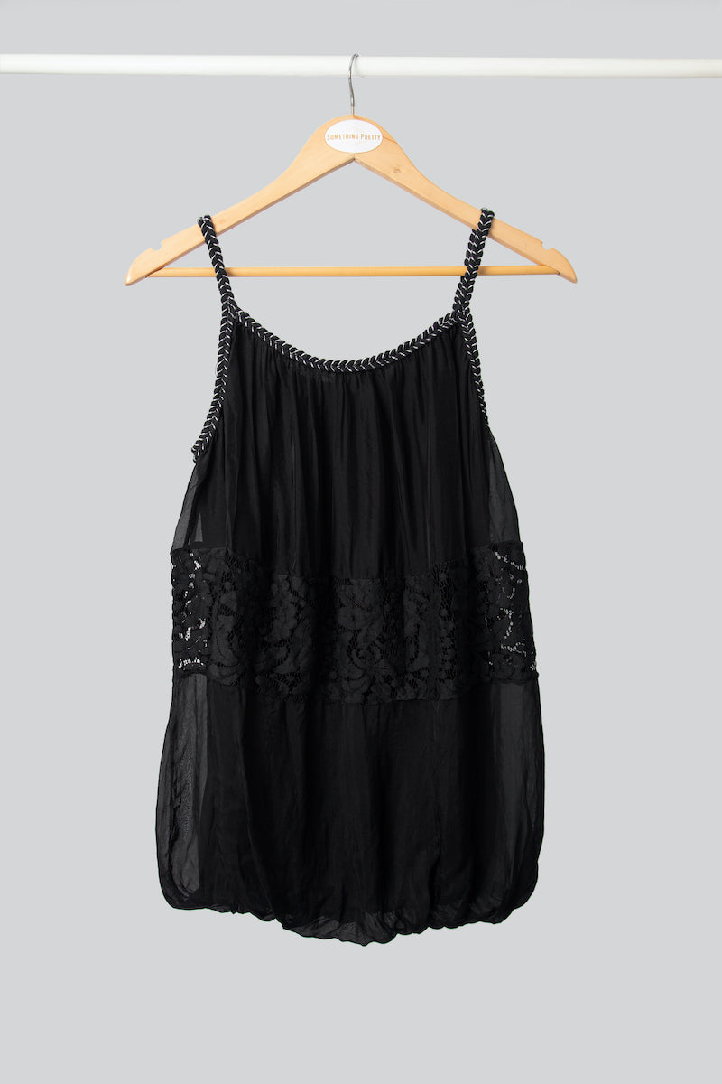 Black Plaited Silk Vest