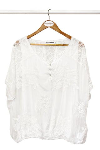 White Silk Lace Poncho