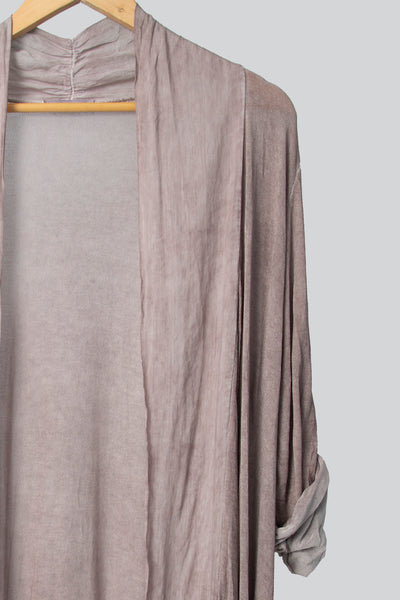Blush Longer Length Cardigan With Frill