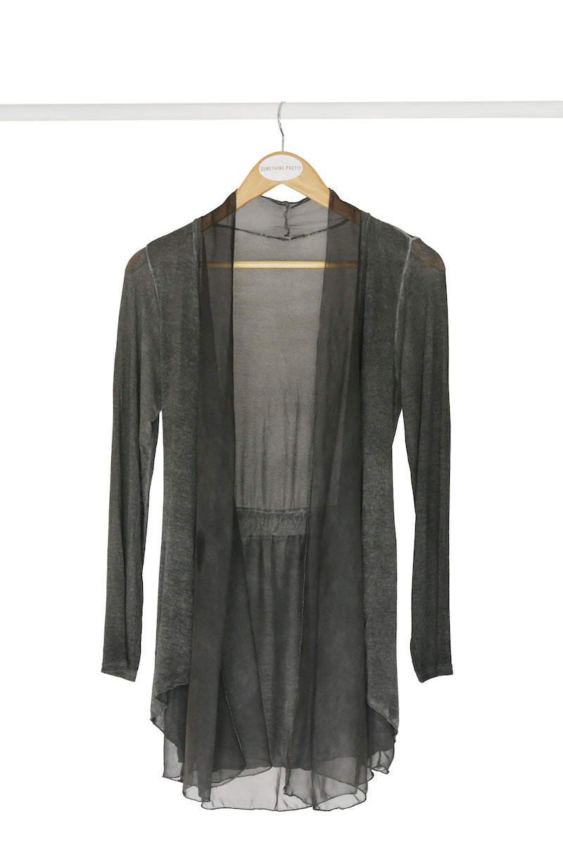 Charcoal Cardigan With Silk Frill Detail
