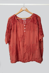 Rust Silk Lace Poncho