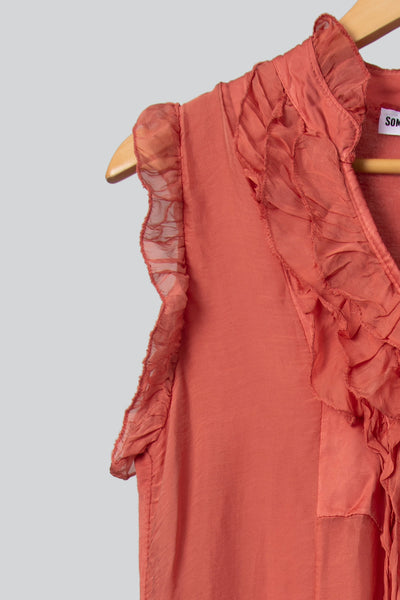 Rust Silk Frill Top