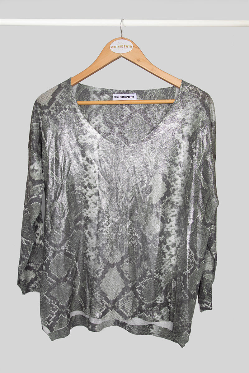Green Snake Print Foil Knit Top