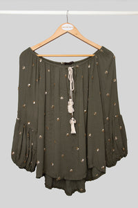 Olive Sequin Dot Top