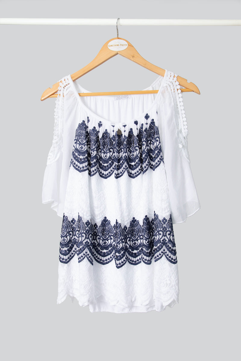 Cold-Shoulder Ink Embroidered Top