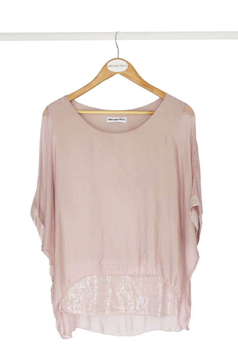 Blush Sequin Silk Poncho