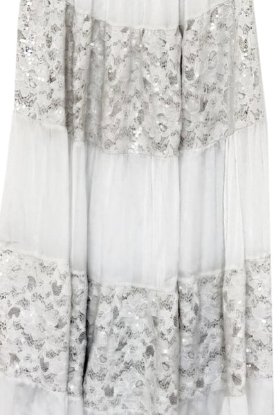 Beige Silk Lace Dress