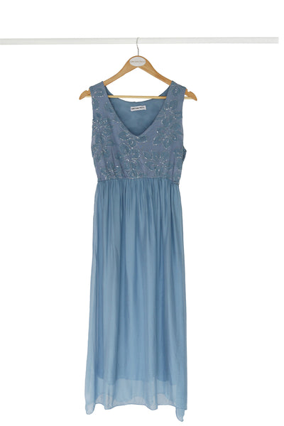 Blue Silk Party Dress