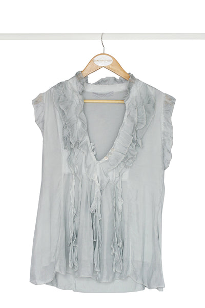 Grey Frill Top