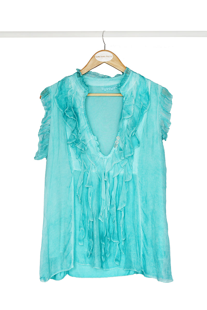 Turquoise Frill Top