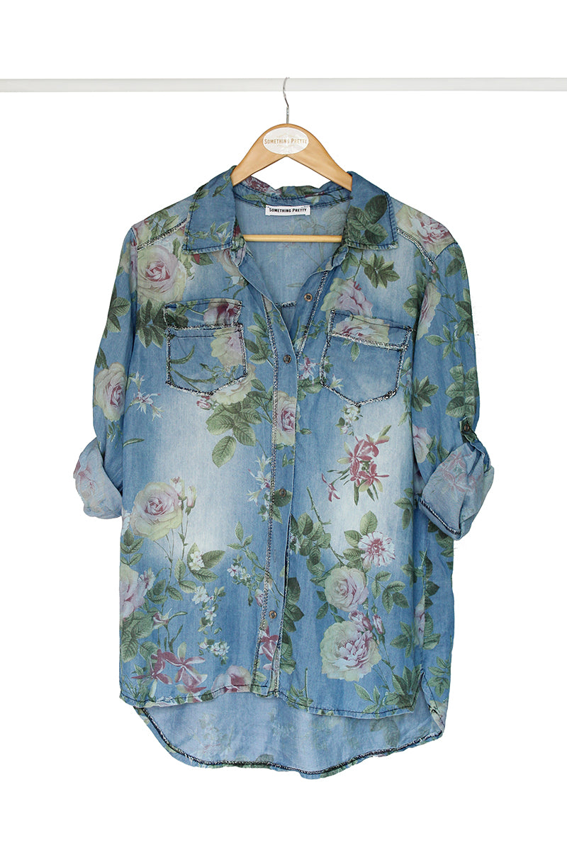 Floral Denim Shirt
