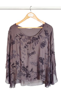 Charcoal Floral Silk Blouse