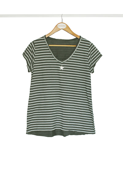 Olive Star Striped Tee