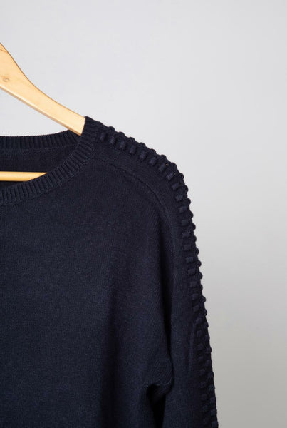 Navy Dobby Sleeve Jumper