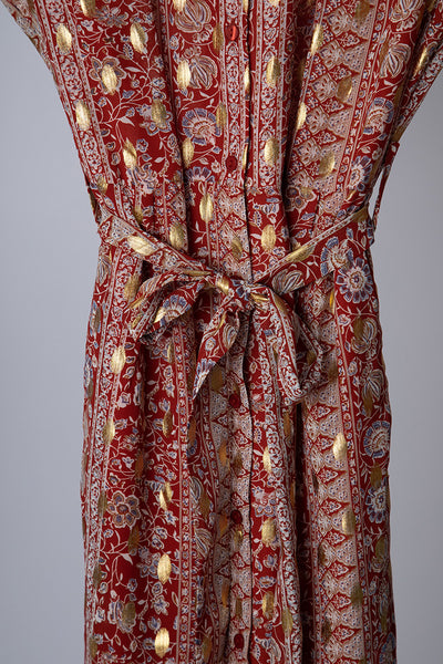 Red Indian Print Dress