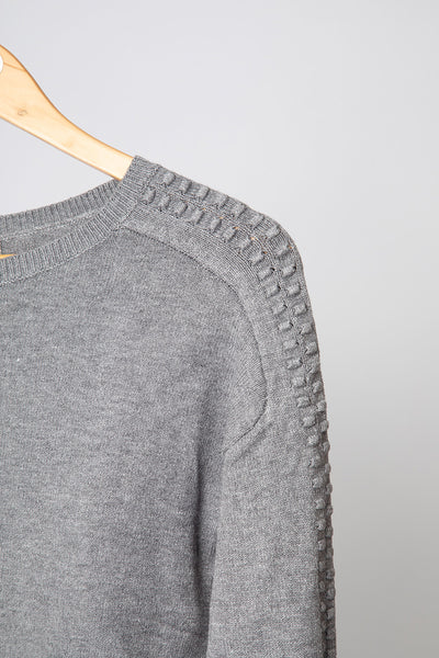 Grey Dobby Sleeve Jumper
