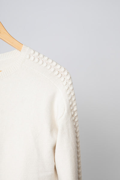 White Dobby Sleeve Jumper