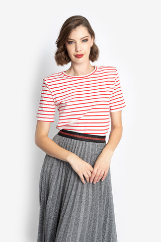 Stripe Shoulderpad T-shirt