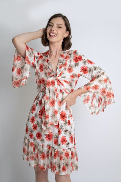 Coral Floral Tie Knot Dress