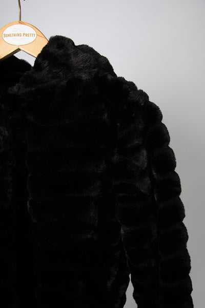 Black Faux Fur Coat with Hood