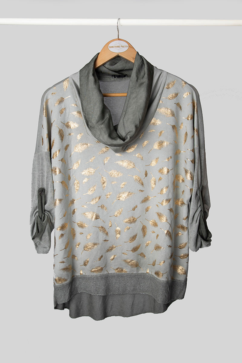 Olive Feather Foil Knit Top