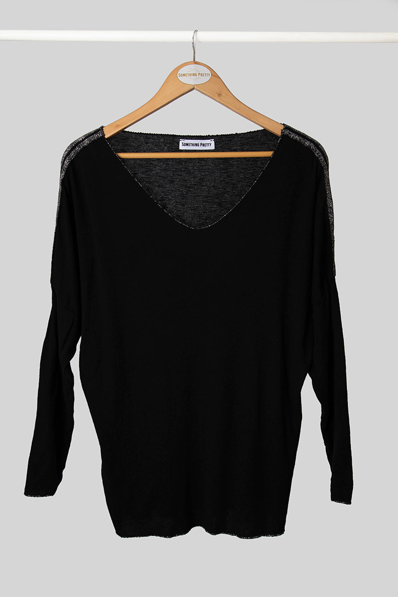 Basic Black Knit With Stripes