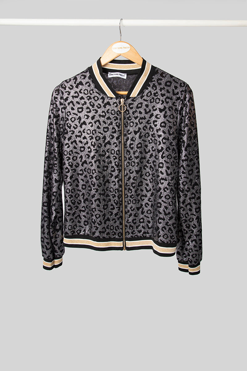 Silver Leopard Party Bomber Jacket