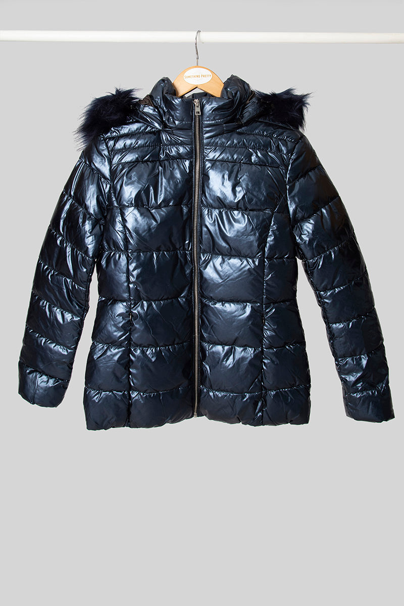 Navy Puffer With Faux Fur