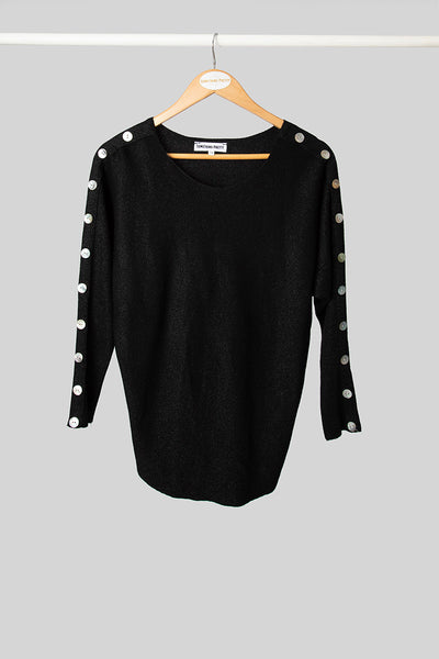 Black Button Shimmer Knit
