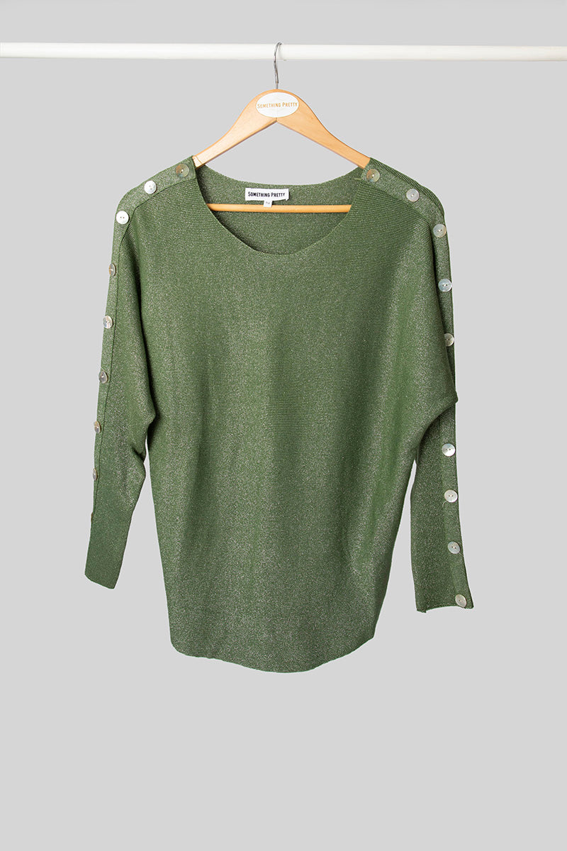 Olive Button Shimmer Knit