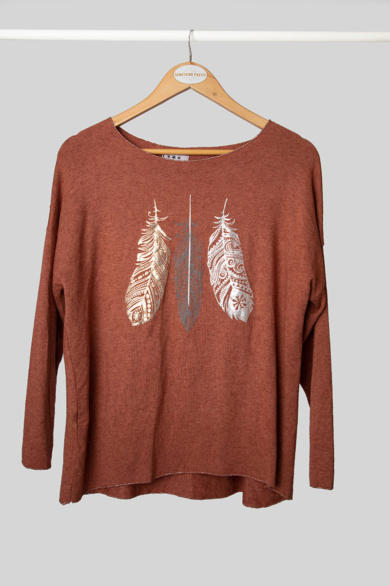 Rust Feather Foil Knit
