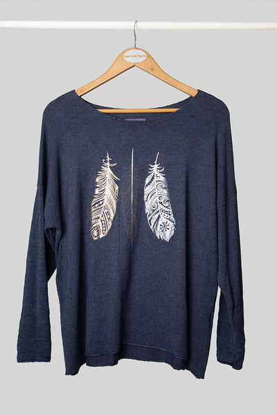 Ink Feather Foil Knit