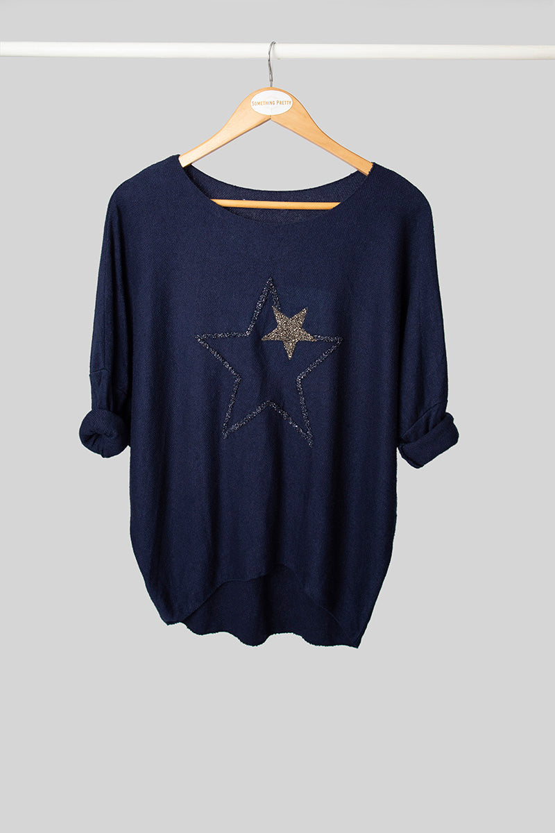 Navy Star Jumper