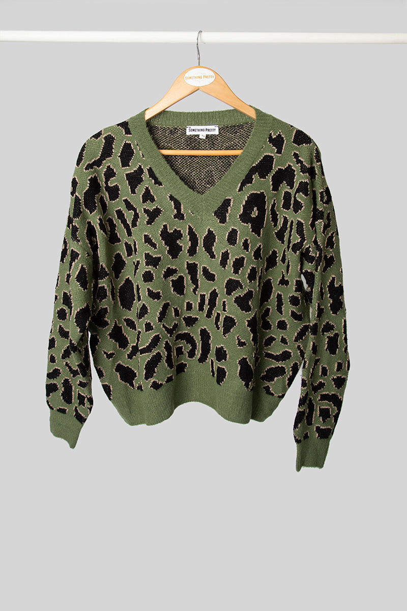 Green Leopard Jumper