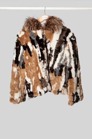 Brown Multi-Coloured Faux Fur Jacket