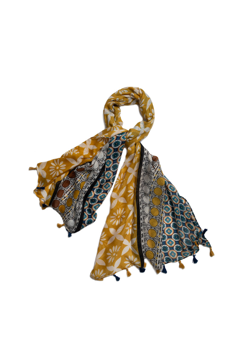 Yellow and Indigo Print Scarf - #5
