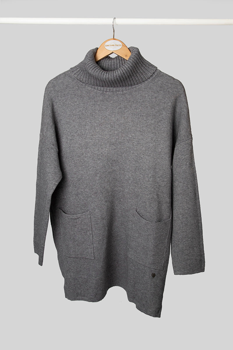Grey Longer Length Poloneck Jersey