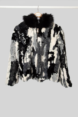 Black Multi-Coloured Faux Fur Jacket