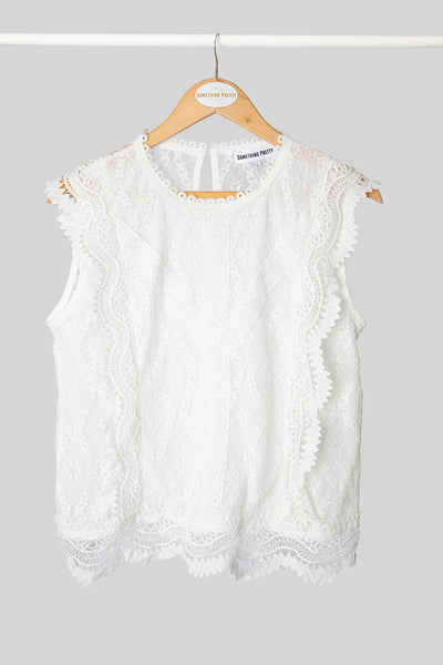 White Sleeveless Lace Top