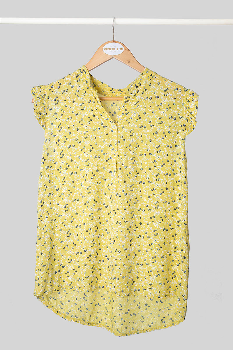 Yellow Floral Sleeveless Top