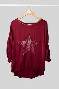 Red Silk Star Top