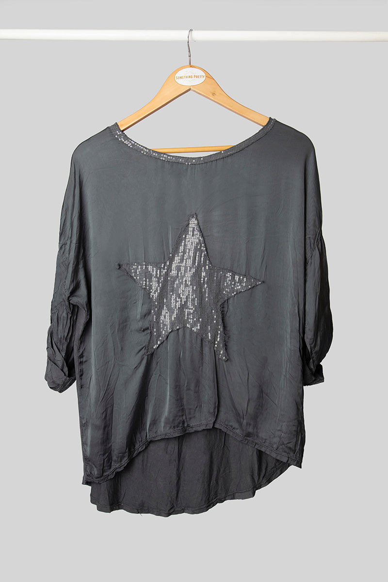 Slate Silk Star Top