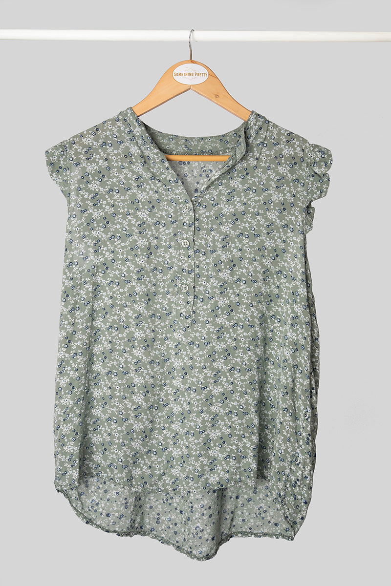 Olive Floral Sleeveless Top