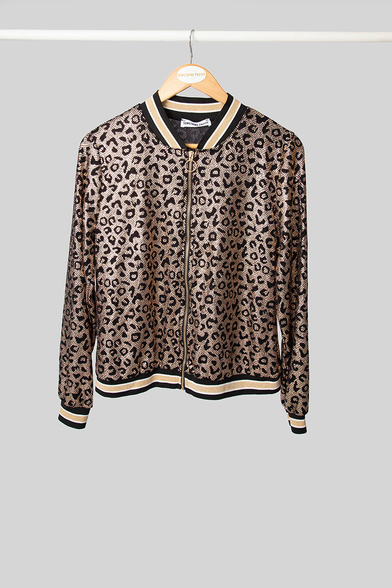 Gold Leopard Party Bomber Jacket