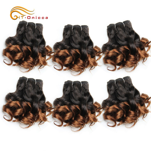 6 Pcs/Lot Curly Hair Bundles 8 Inch Ombre Brazilian Hair Weave Bundles Color 1B/2/4/30/33/99J Human Hair Extension Remy - crazylook