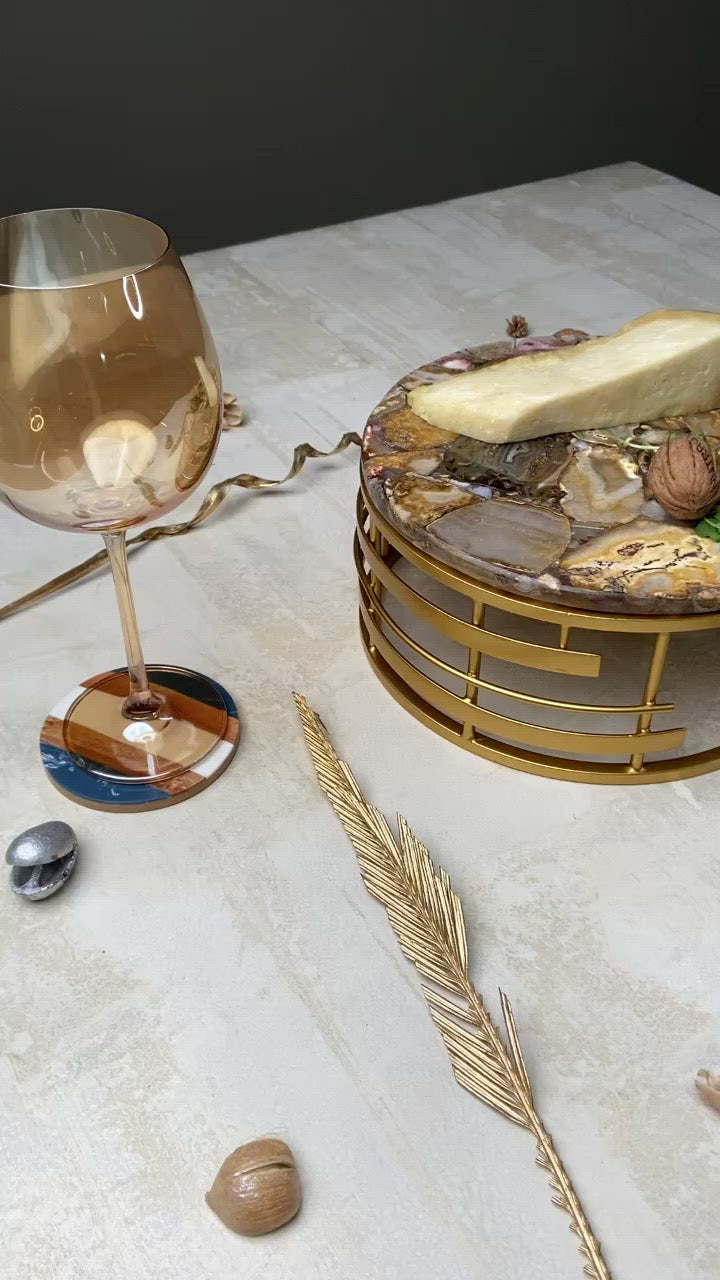 Home Tableware Gold Cage Luxury Agate Cake/Cheese Platter