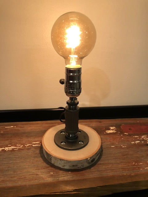 Industrial Pipe Lamp with Edison Bulb on Birch Base