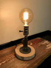 Load image into Gallery viewer, Industrial Pipe Lamp with Edison Bulb on Birch Base