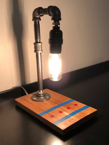 Industrial Pipe Edison Lamp with Chicago Flag Design