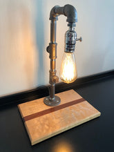 Load image into Gallery viewer, Industrial Pipe Lamp with Edison Bulb on Pacific Coast Maple and Mahogany Wood Base